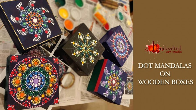 Dot Mandalas on wooden box